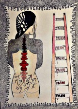 Grey ink with nude flesh colour, black hair and red spine. See back of figure with the red spine, shoulders and arms grey, zig zags on the figure's bottom. Ladder to right, each step has word PAIN, beige at bottom of ladder, red halfway up to top