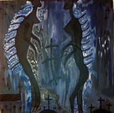 Made up of dark blue and black. Two figures facing one another, tall and slender, between them crucifixes
